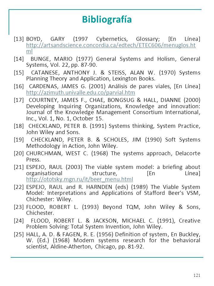 Bibliografía[13] BOYD, GARY (1997 Cybernetics, Glossary; [En Línea] http://artsandscience.concordia.ca/edtech/ETEC606/menuglos.html.